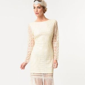 Ivory 1920's Beaded Flapper Dress Unique Vintage